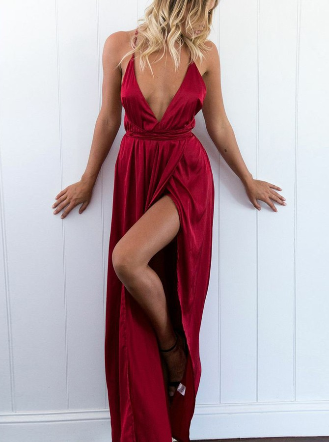 A-Line Spaghetti Straps Backless Dark Red Prom Dress with Split