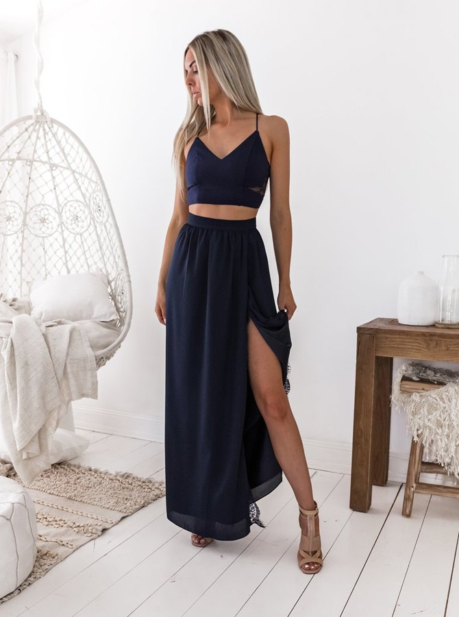 Two Piece Spaghetti Straps Floor-Length Navy Blue Prom Dress with Lace Split