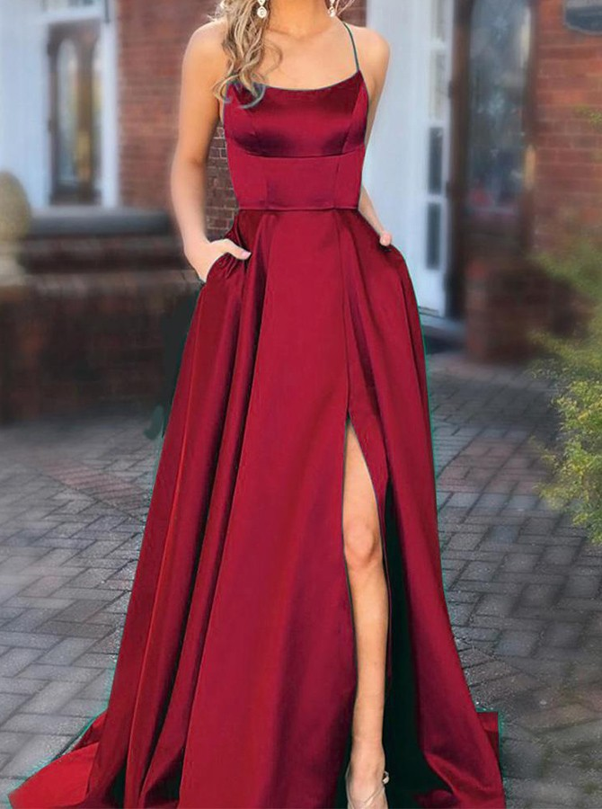 Criss-Cross Straps Sweep Train Red Prom Dress with A leg Slit and Pockets