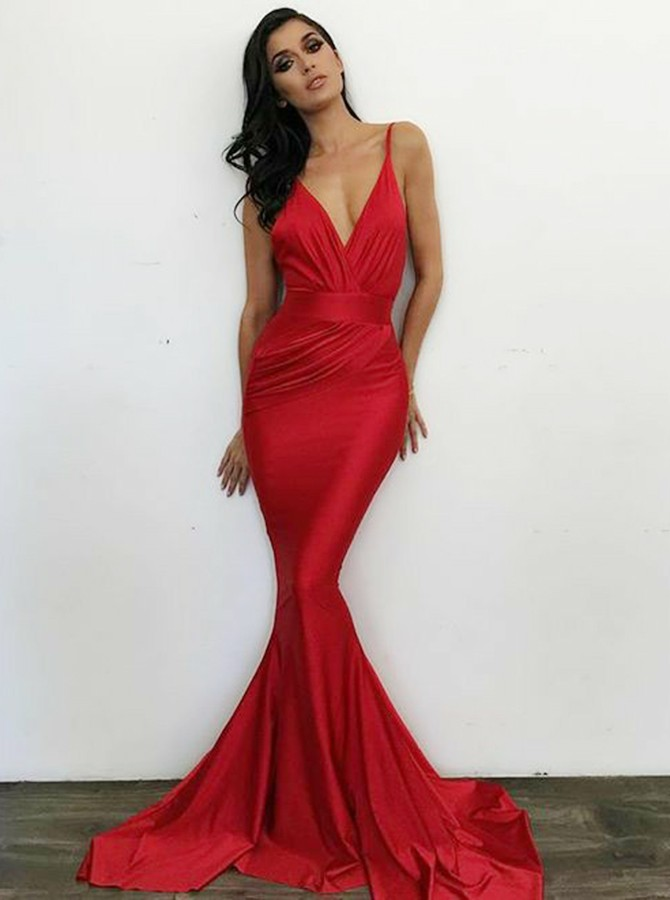 Mermaid V-Neck Backless Sweep Train Red Prom Dress with Ruched