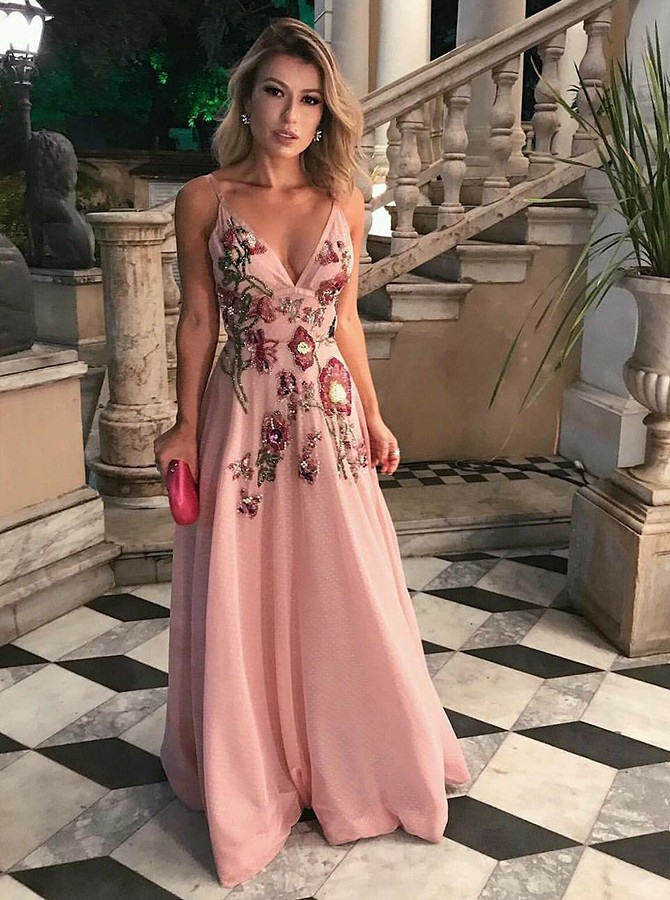 A-Line Spaghetti Straps Pink Prom Dress with Appliques Sequins