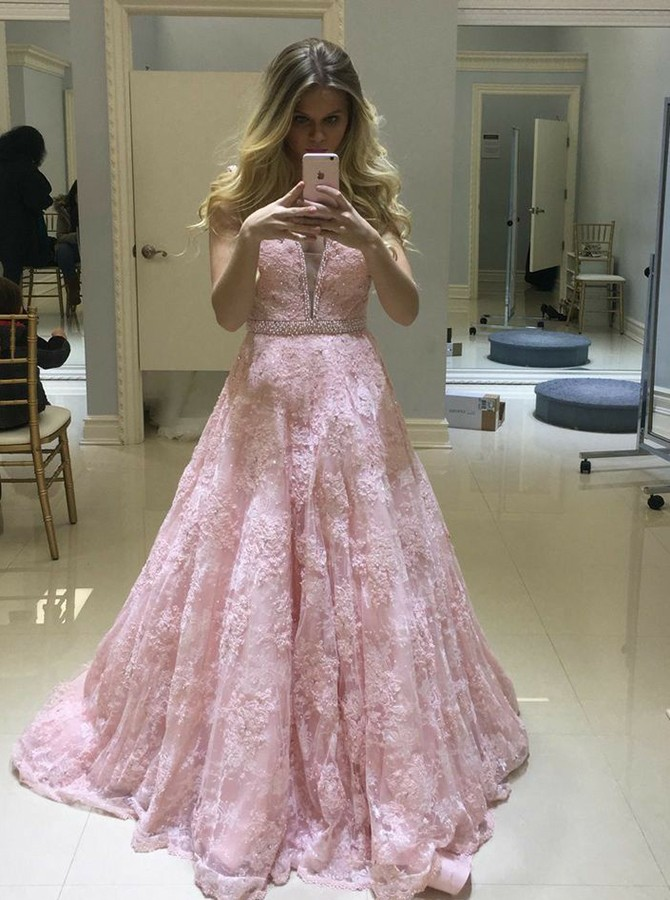 A-Line V-Neck Backless Pink Prom Dress with Appliques Beading