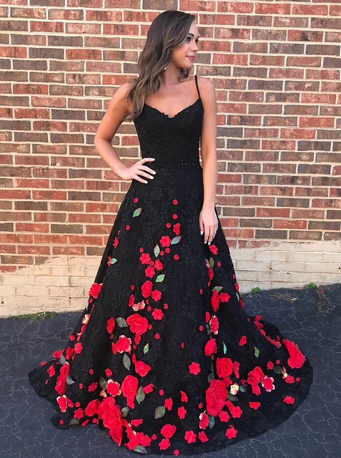 A-Line Spaghetti Straps Black Lace Prom Dress with Appliques Beading