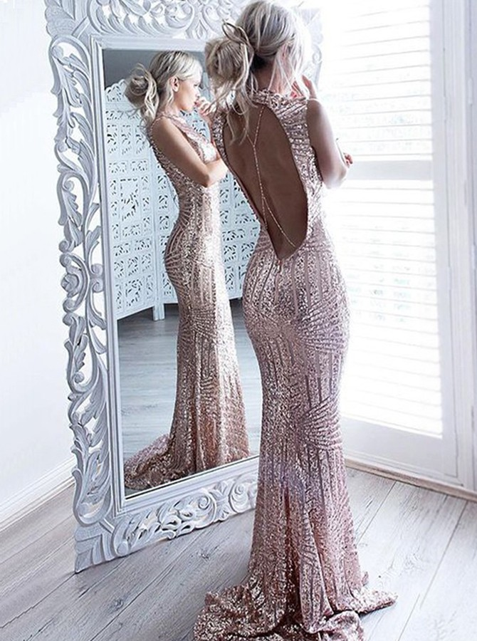 Mermaid Style Jewel Sweep Train Rose Gold Sequin Prom Dress with Open Back