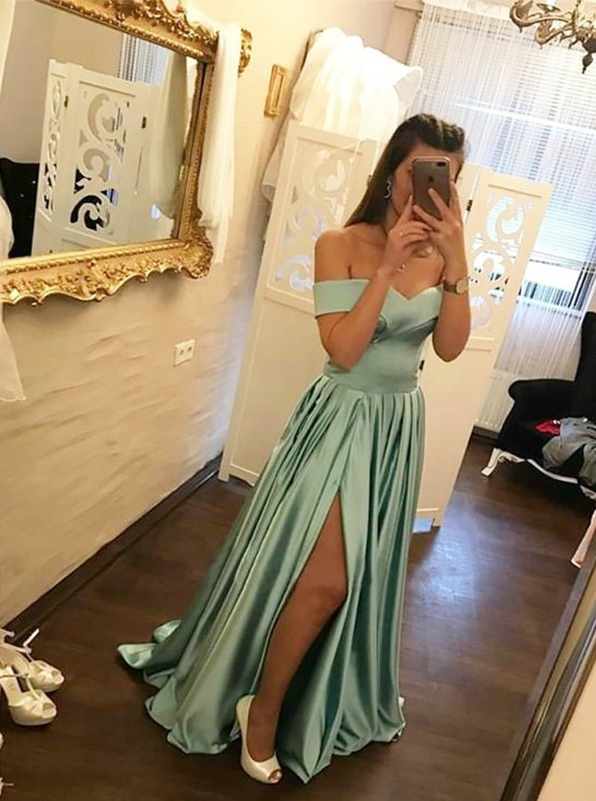 A-Line Off-the-Shoulder Floor-Length Sage Prom Dress with Split