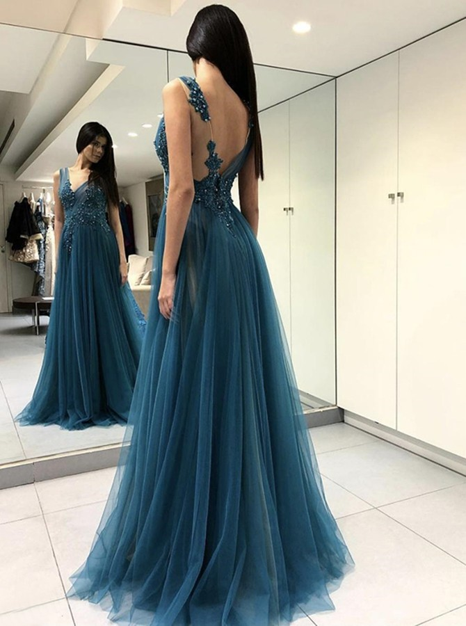 A-Line Round Neck Backless Turquoise Prom Dress with Appliques Beading