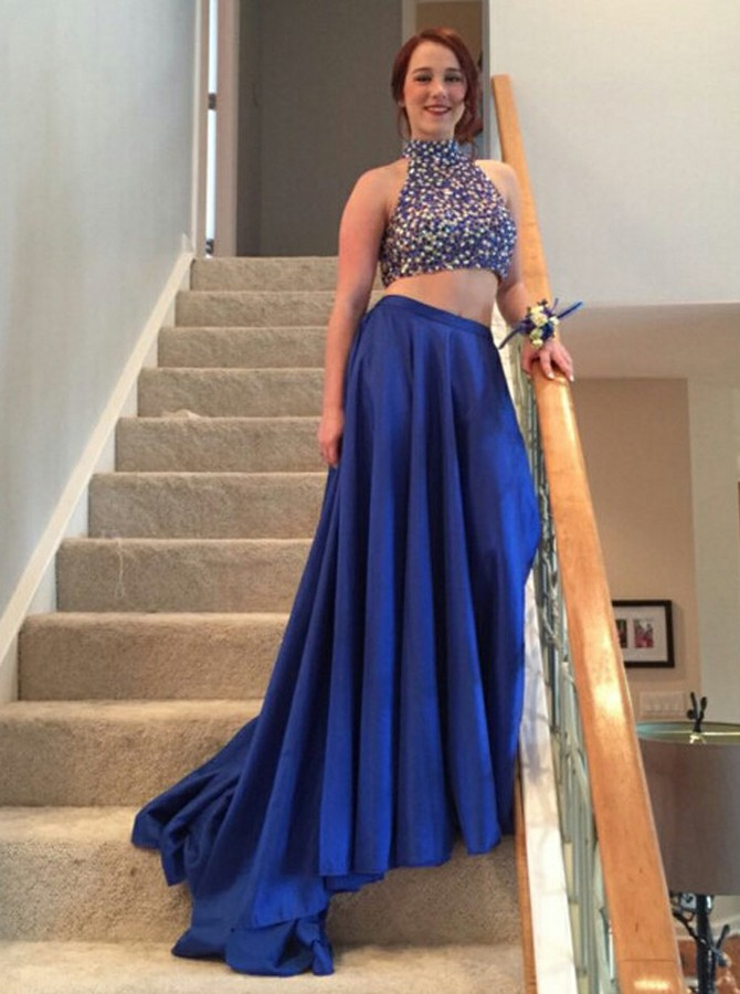 3bc0d2ff08 Two Piece High Neck Open Back Sweep Train Royal Blue Prom Dress with Beading