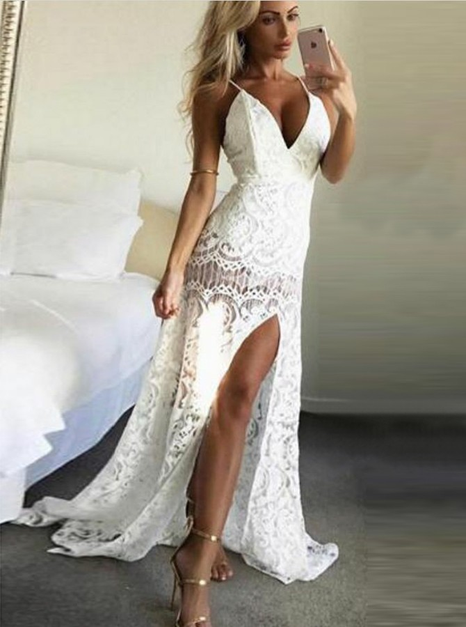 Mermaid Spaghetti Straps Sweep Train White Lace Prom Dress with Split