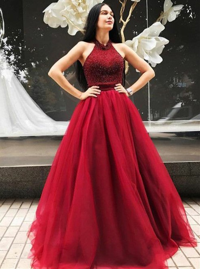 A-Line Halter Backless Sweep Train Red Prom Dress with Beading