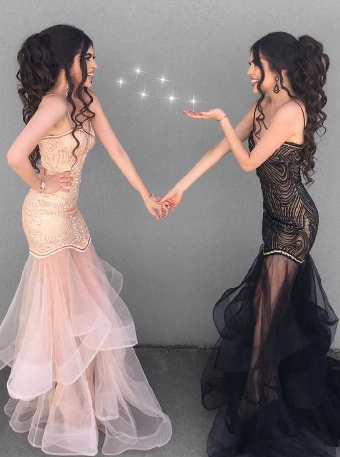 Mermaid Spaghetti Straps Floor-Length Black Tulle Tired Prom Dress