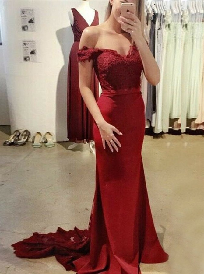 Mermaid Off-the-Shoulder Backless Burgundy Prom Dress with Appliques