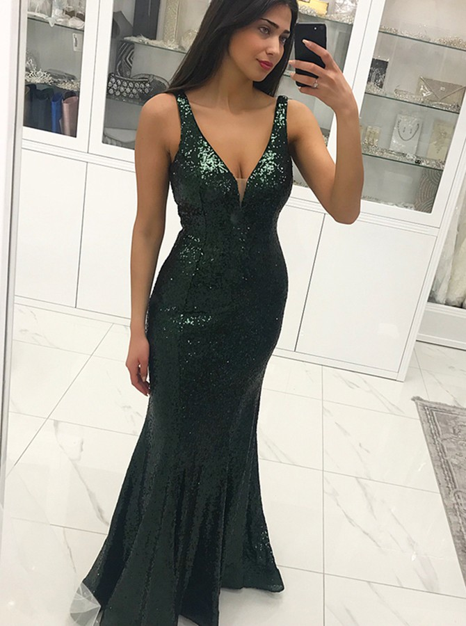 Mermaid V-Neck Backless Floor-Length Dark Green Sequined Prom Dress