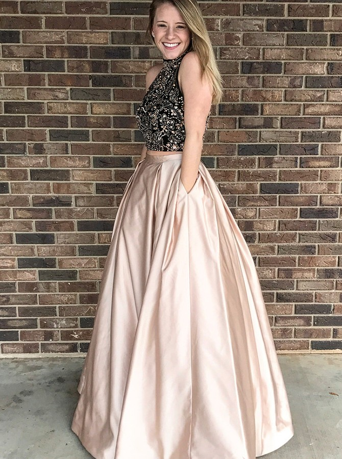 Two Piece High Neck Open Back Champagne Prom Dress with Beading Pockets