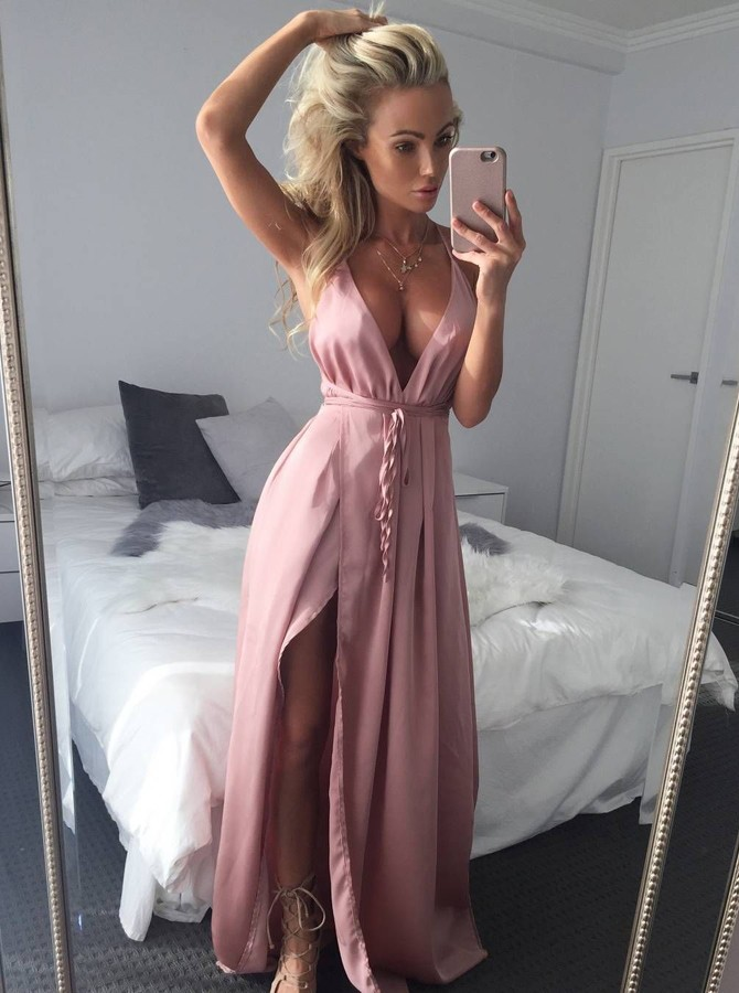 A-Line Deep V-Neck Backless Floor-Length Pink Prom Dress with Split