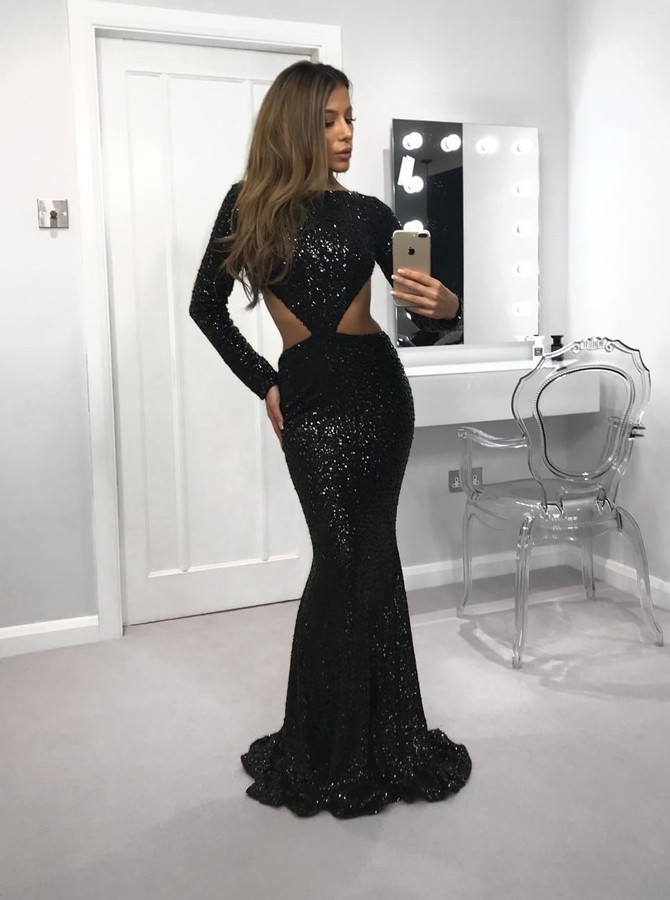 Mermaid Jewel Long Sleeves Open Back Floor-Length Black Sequined Prom Dress