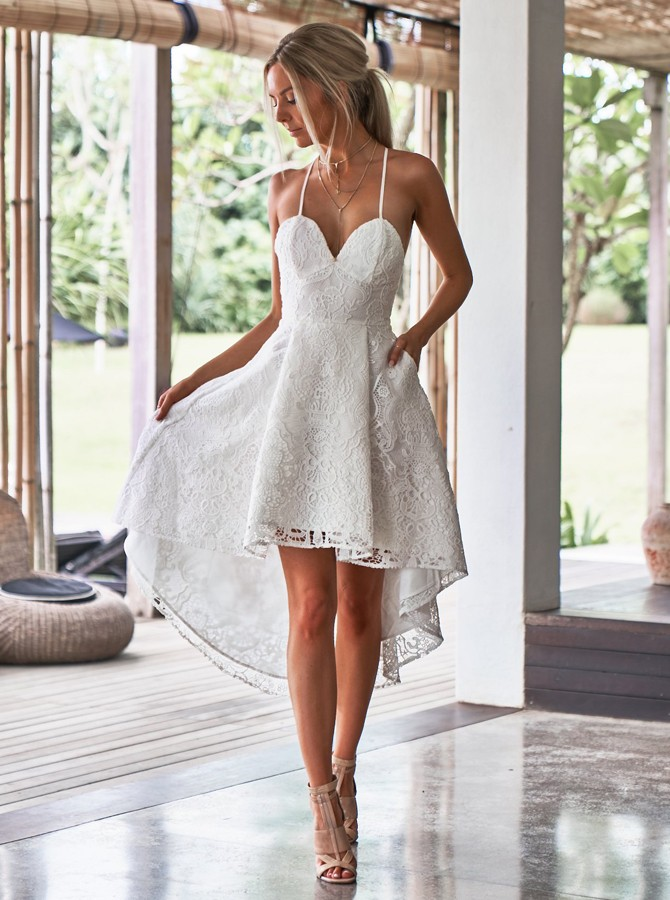 A-Line Spaghetti Straps High Low White Lace Prom Homecoming Dress with Pockets