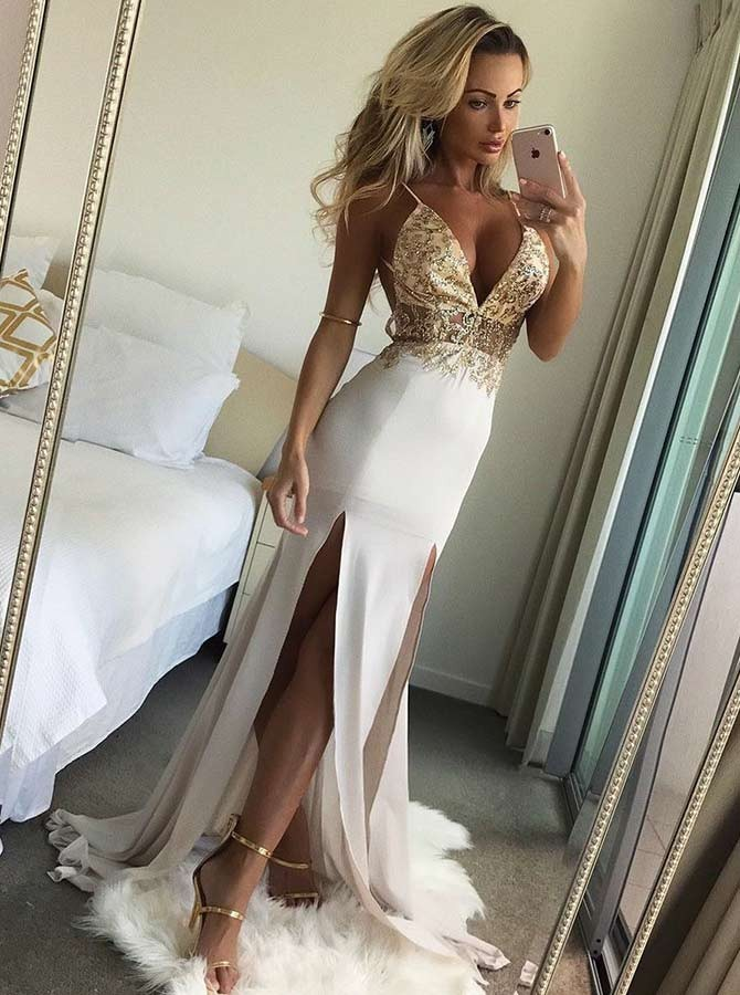 9a500018158 Mermaid Spaghetti Straps Backless Sweep Train White Prom Dress with Beading  Split