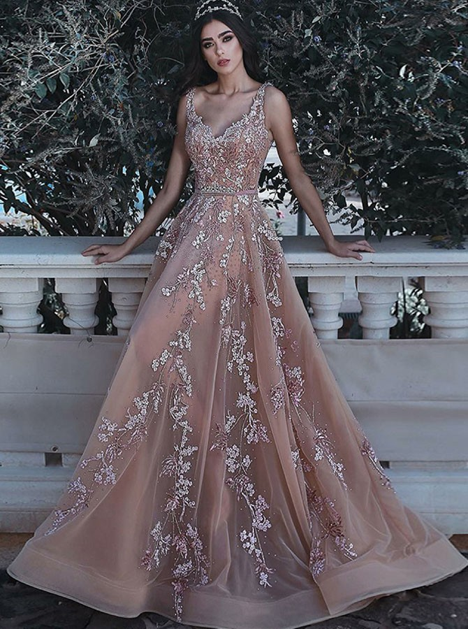 A-Line V-Neck Floor-Length Organza Prom/Evening Dress with Appliques Sequins