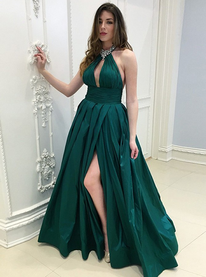 A-Line Halter Backless Long Dark Green Split Prom Dress with Beading Keyhole
