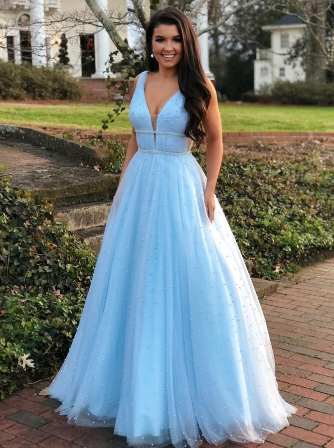 Modest V-neck Sleeveless Blue Prom Evening Dress with Pearls