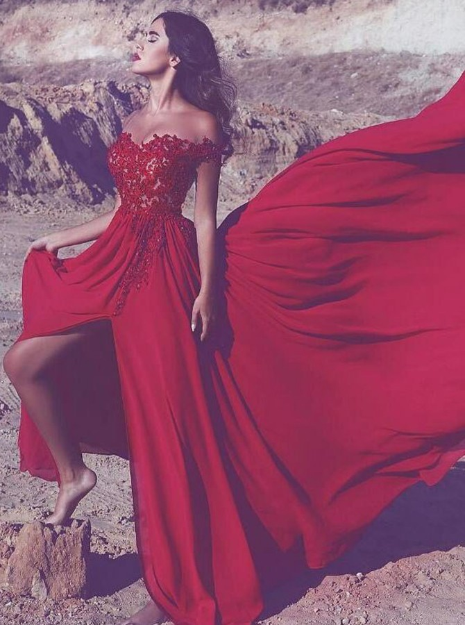 A-Line Off-the-Shoulder Long Red Prom Dress with Split Appliques