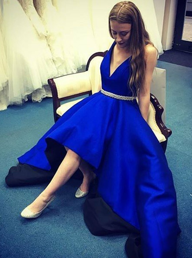A-Line High Low Deep V-Neck Royal Blue Prom Dress with Belt