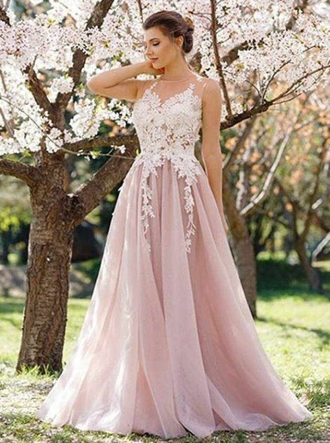 A-Line Round Neck Sweep Train Prom Dress with Appliques