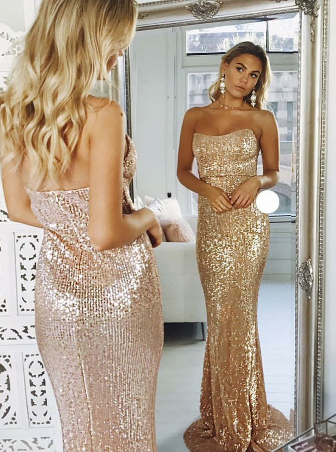 Mermaid Sweetheart Sweep Train Backless Sequined Prom/Evening Dress