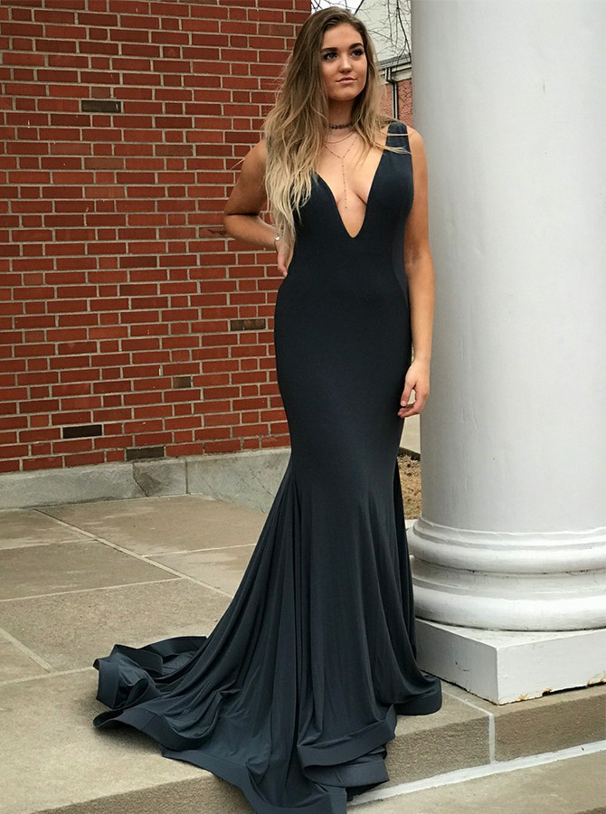Mermaid V-Neck Sweep Train Black Satin Backless Prom Dress