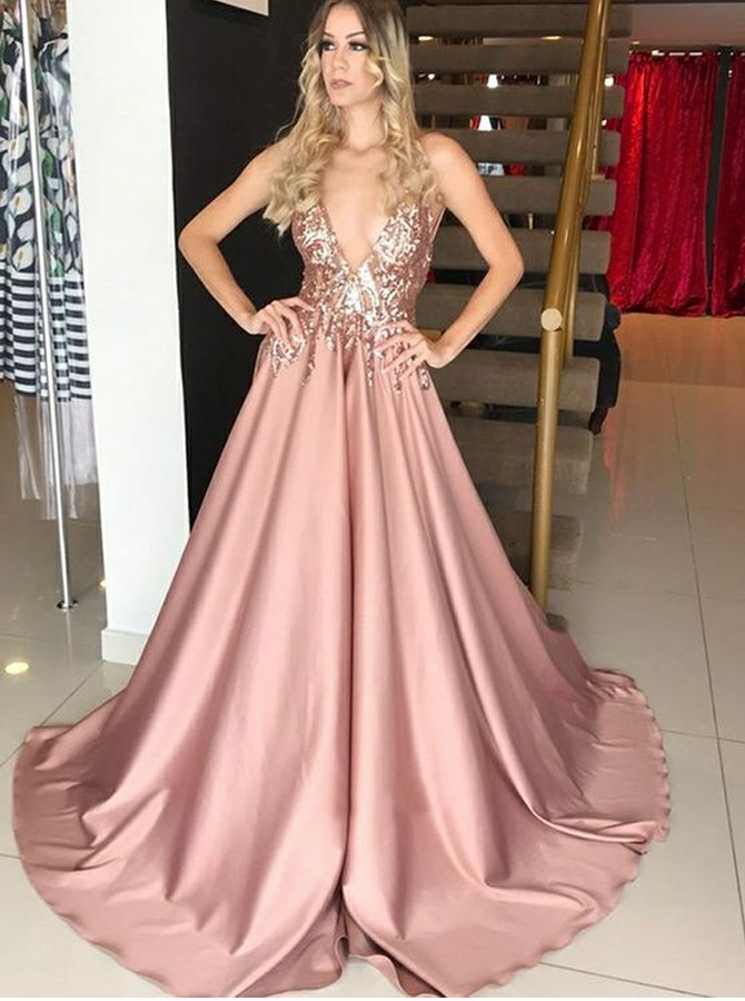 A-Line V-Neck Sweep Train Satin Prom/Evening Dress with Appliques