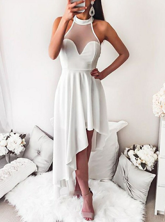 High Low Round Neck Floor-Length Chiffon Backless Prom Dress