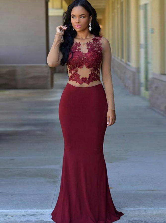 Mermaid Round Neck Long Sleeves Burgundy Prom Dress with Appliques
