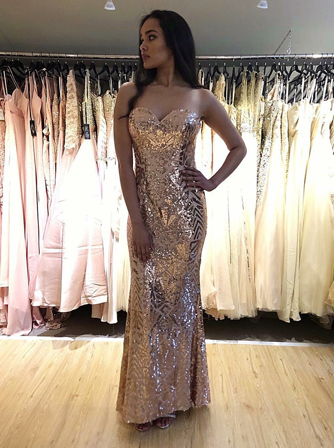 Mermaid Sweetheart Long Sequined Champagne Prom/Evening Dress