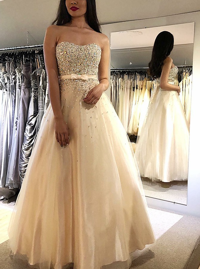 A-Line Sweetheart Rhinestone Beading Bowknot Prom/Evening Dress