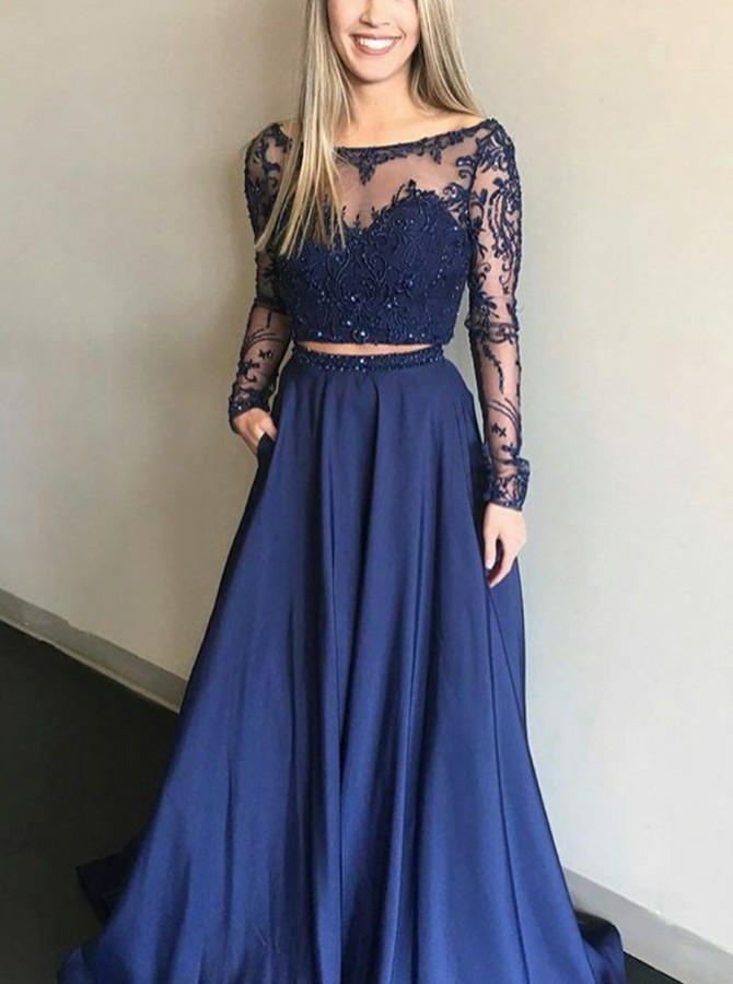 Two Piece Long Sleeves Prom Dress with Beading Appliques Pockets
