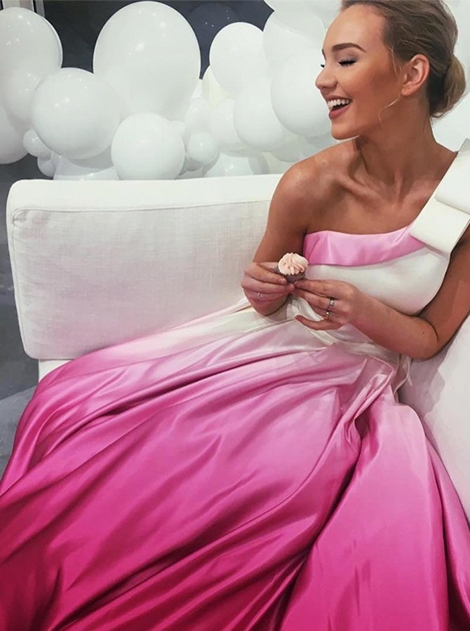 A-Line One-Shoulder Sweep Train Prom/Evening Dress with Pockets Bowkont