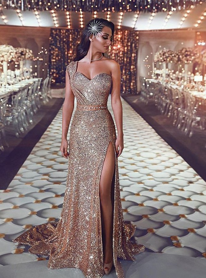 Unique Sheath One-Shoulder Champagne Long Sequined Prom Dress with Split Beading
