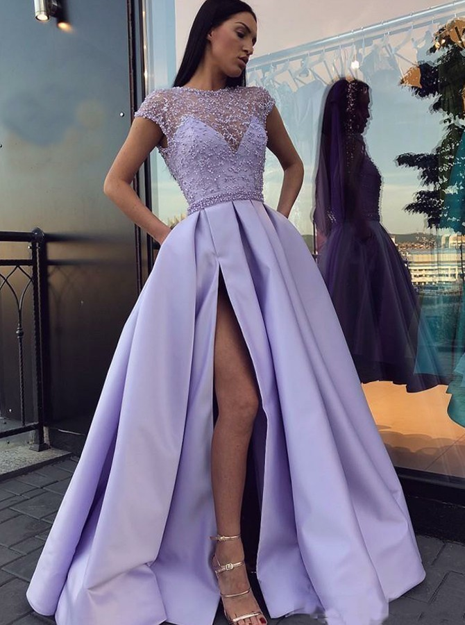 A-Line Jewel Cap Sleeves Open Back Lavender Prom Dress  with Split Beading