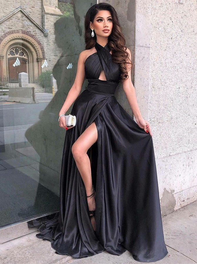 Hot A-Line Cross Neck Long Backless Dark Red Split Prom Dress with Keyhole