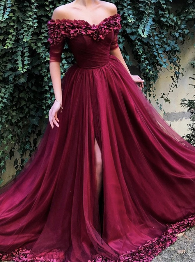 A-Line Off-the-Shoulder Half Sleeves Burgundy Prom Dress Flare Evening Dress