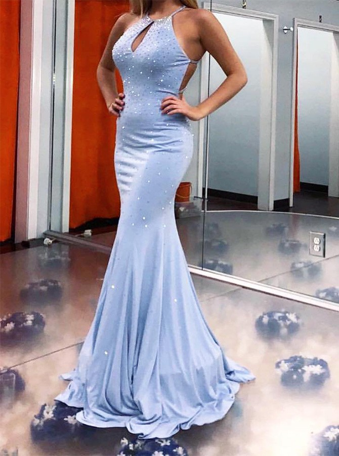 Mermaid Blue Keyhole Criss-Cross Straps Prom Dress with Rhinestone