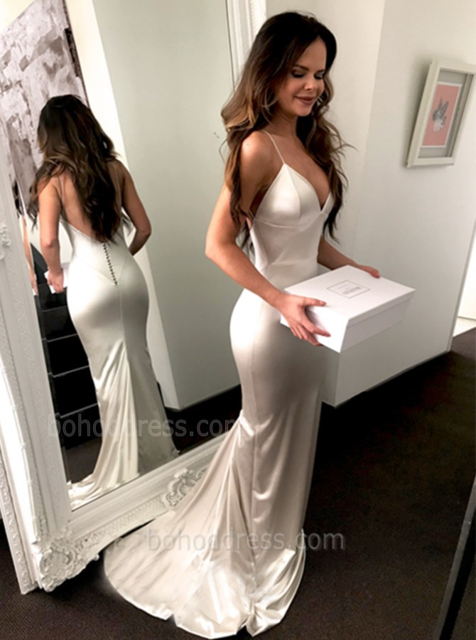 Fantastic White Spaghetti Straps Backless Long Mermaid Prom Dress