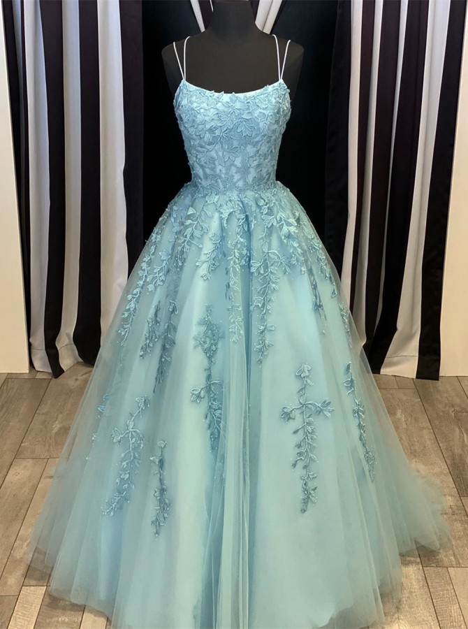 Gorgeous Spaghetti Straps Criss-Cross Back Prom Evening Dress with Appliques