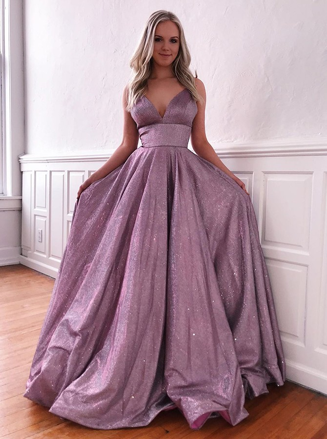 Modest Purple Spaghetti Straps Sleeveless Prom Evening Dress with Pockets