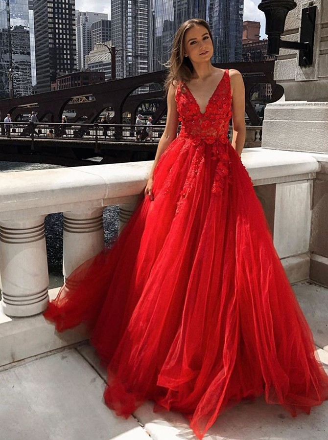 Chic V-neck Red Floor-Length Prom Evening Dress with Appliques Pockets