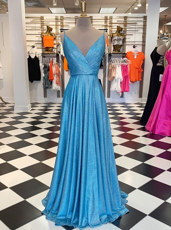 Elegant V-neck Sleeveless Sweep Train Blue Prom Evening Gowns with Pockets