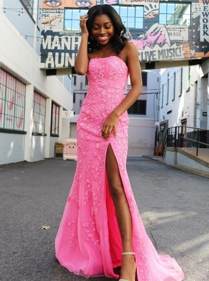 Mermaid Strapless Rose Pink Split Prom Evening Dress with Train Appliques