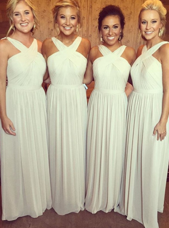 A-Line V-neck Floor-Length Ivory Chiffon Bridesmaid Dress with Sash