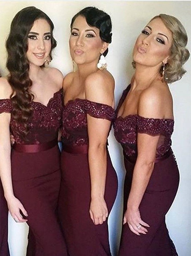 Elegant Mermaid Off Shoulder Burgundy Bridesmaid Dress with Beading Lace