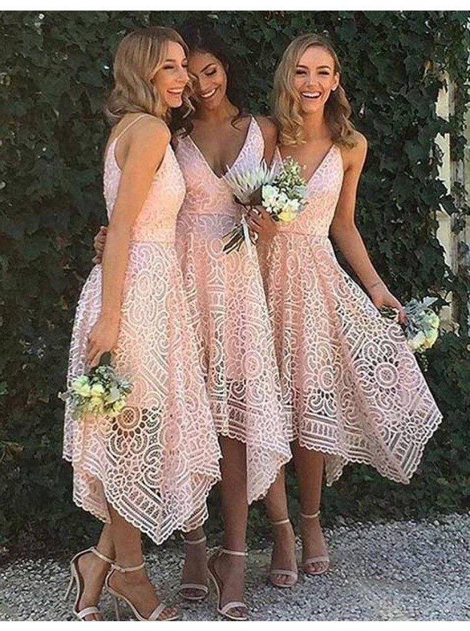 A-Line V-Neck Asymmetry Pink Lace Bridesmaid Dress